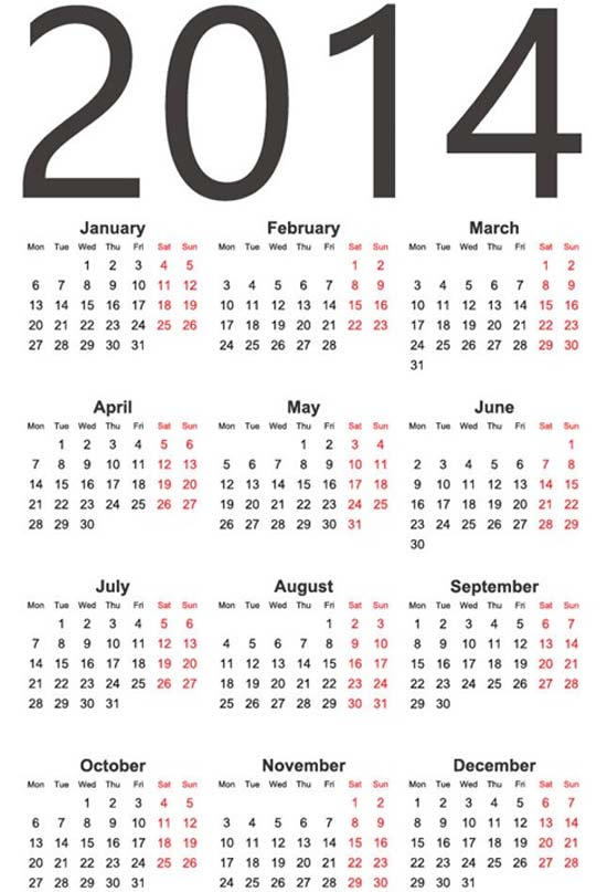Calendario 2014 sencillo y simple