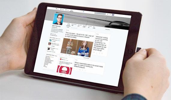 Twitter visto desde una tablet con su nuevo diseño