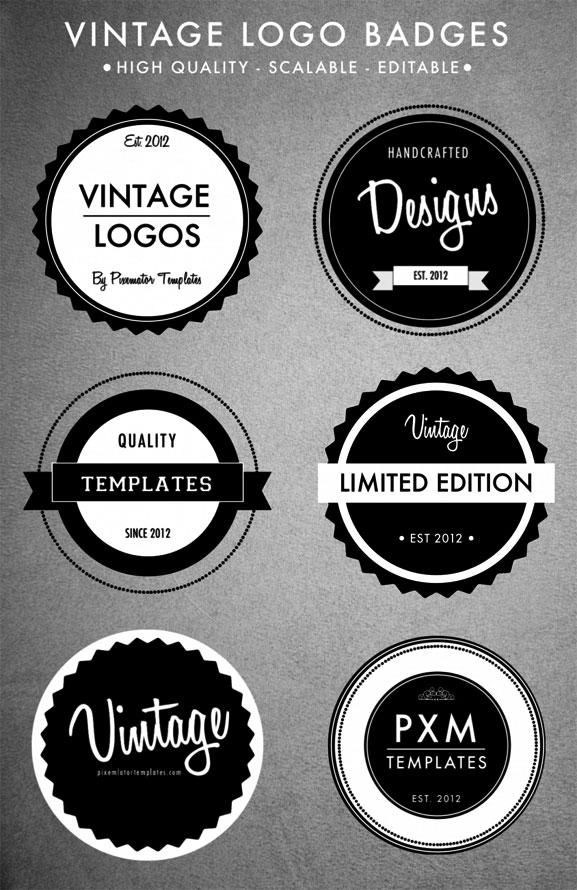 Set de logo vintage en vectores volumen ll para ai for Logos para editar